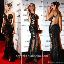 Real Sample One Shoulder Lace Appliques Black Mermaid Sweetheart See Through Back Vestidos De Fiesta Prom Dresses 2014
