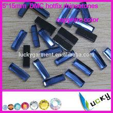 Factory price A+ quality DMC flat back hotfix rhinestones Rectangle shape iron on strass crystal beads