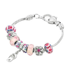 fashion imitation jewelry jewellery multi garden charms and flowers charms metal beads chain peaceful bracelet bangle