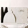 بطاقة دعوة الزفاف الفخمة 2014 الأبيض والأسود قطع الليزر دعوات الزفاف دعوة زفاف مصنوع في الصين
