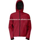 Hooded fleece lined waterproof red softshell jackets men