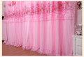 สีชมพูลูกไม้ปักผ้าม่านสำเร็จรูป