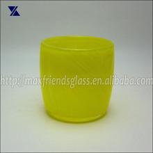 Brillant Yellow Glass Candle Holder , Tea Light Votive Holder Cased Glass Hand Blown