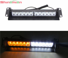 New Car Truck 12-LED Strobe light flash light For Interior Dashboard/Windshield Mounting Yellow Amber White DC 12V