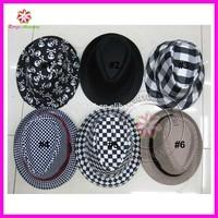 Custom Made Flat Wide Brim Fedora Felt Hats for baby child