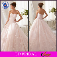 EDW310 Simple but Beautiful Ball Gown Vintage Lace Appliqued Cheap Pink Wedding Dresses