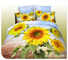 wholesale queen size polyester/cotton 3d printed bedding set in sunflower design