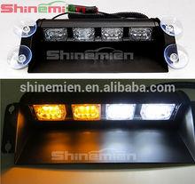 12V 12 LED Fire Car Dash Strobe Flash Warning Light Amber&White Emergency Lamp