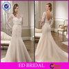EDW325 Mermaid Bling Beaded Belt Long Sleeve Lace Beautiful Pakistani Wedding Dresses