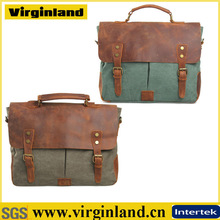 2014 new fashion men leather tote bag vintage canvas handbags with long strap wholesale