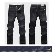 High quality 2014 business black color wholesale 50 pics/lot tapered demin pants factory direct sale cheaper thick jeans for men