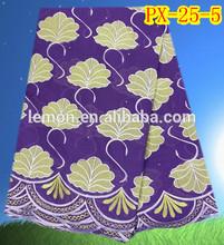 Elegant design purple swiss lace cotton lace fabric for garment
