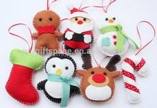 hot sale eco friendly handmade felt wholesale Christmas decorations UK plush inflatable dolls hanging santa/snowman/reindeer