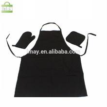 Kitchen apron set cotton apron with glove and mat