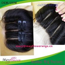Indian top grade straight human hair 4x4 10inch short three part lace closure