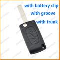 Kunststoff autoschlüssel rohlinge für citroen flip remote-key- mit Stamm mit batteriehalter in Nut