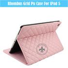 Cheap Durable Rhombus Grid Leather / PU Case For iPad5 U1704-52