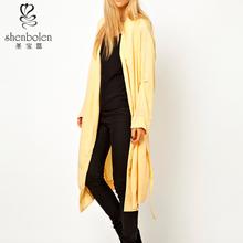 long coat yellow Winter and Autumn cutout back design women fashion coats 2014