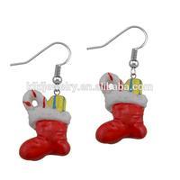 happy chrismas stocking earrings for children