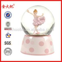 Polyresin pink ballet dancing girl water ball for home decor