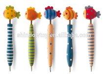 Design cartoon pen/pen with cartoon head/wooden pen with animal top cute fish on top