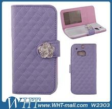 Diamond Camellia Design Sheep Skin Leather Flip Case for HTC One 2 M8 Aliabab Express