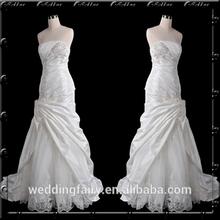 Hand-Made Embroidery Bead Trumpet/Mermaid Strapless Satin Wedding Dress