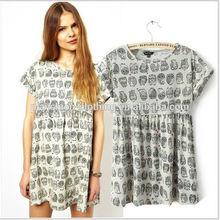 Summer 2014 Casual Short Dresses Women Round Collar Cat Patterns Dress