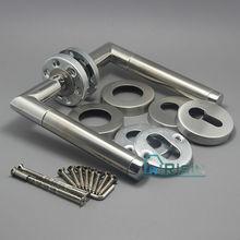 satin silver door handle on rose