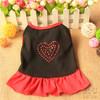 Plain Black Dog Dress Shirt with love rhinestone and Red Hem,Pet Factory