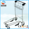 3 or 4 wheels Stainless steel airport luggage trolley, stainless steel airport trolley