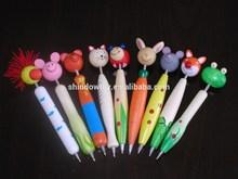 Cartoon Wooden animal design Decor ball pens school accessories