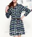 Clássico 2014 100% xadrez de algodão de manga comprida de verão vestido longo mulheres blusa