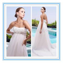 HD491 Elegant Strapless Crystal Sash Chiffon Mother Of The Bride Beach Wedding Dress