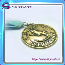 Custom Antique Metal Medals With Ribbon For Promotion