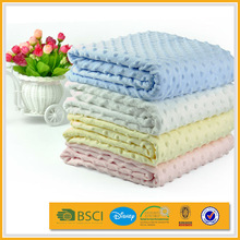 2014 knit warming minky dot microfibe hem edge velour baby blanket