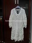 Women's Lace Knit Top Long Sleeve Crochet Long Body Blouse Top