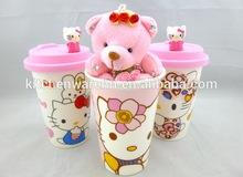 Haonai M-10467 Creative funny coffee bone china cup with lid manufacturer China
