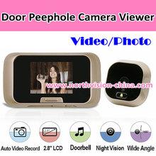 2.8 inch video recording digital door peephole viewer with IR, aa battery power supply, doorbell function