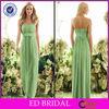 2014 Western Wedding A-Line Green Strapless Ruffle Chiffon Satin Sash Floor Length Bridesmaid Dresses