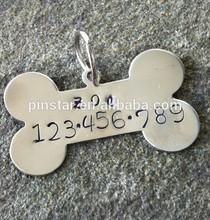 Custom metal dog or pet id tags wholesale name tag bone shaped dog tags