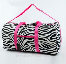 "22"" Zebra DUFFLE Bag Overnight TOTE Dance Carry On Travel Gym Cheer Pink Fuschia"