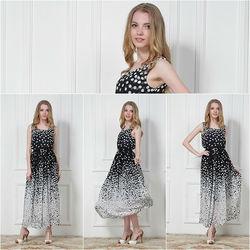 New Fashion Women's Long Maxi Summer Elastic Waist Polka Dotted White Black Chiffon Dress Casual Sleeveless Evening Dresses Send
