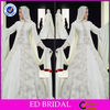 EDW366 Luxury Shinning Heavy Crystal Beaded Long Train Dubai Muslim Wedding Dress