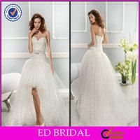 EDW367 Newest Lace Short Front Long Back Puffy Tull Sleeveless Sexy Wedding Night Dresses