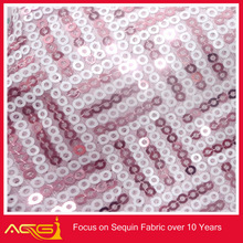 Latest ACG Mesh Sequence table cloth hampagne and ivory ,Z shape silver foil organza fabric
