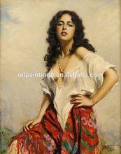 Hot sell handmade modern spanish girl portrait oil painting