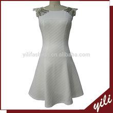 Short sleeve beaded design ladies office wear dresses dress