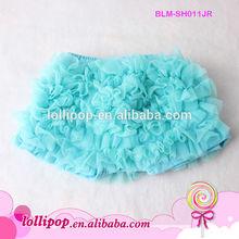 2014 new fashion ! Latest design various color cotton aqua ruffle wholesale baby ruffle shorts
