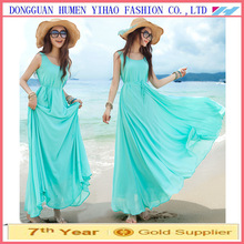 Wholesale Womens New Summer Chiffon Plus Size Lacing Sleeveless Maxi Dresses